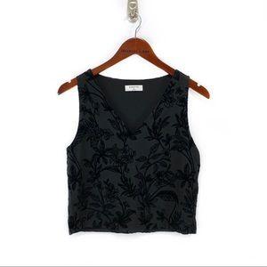 Aritzia- Babaton Black Velvet Floral Crop V Top XS